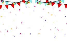 A decoração dos confetes, da bandeira e das bolas extravagantes, papel dispersa o vetor do fundo do sumário da festa natalícia do ilustração stock
