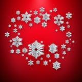 Decoração dos flocos de neve do Natal do Livro Branco em um fundo vermelho Eps 10 ilustração do vetor
