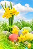 Decoração dos ovos da páscoa e flores dos narcisos amarelos Céu azul com ligh Imagem de Stock Royalty Free