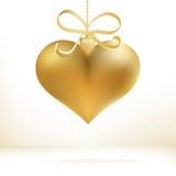 Decoração dourada do coração do Natal. + EPS8 Foto de Stock Royalty Free