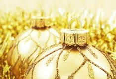 Decoração dourada do Natal Imagens de Stock