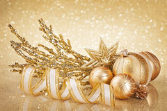 Decoração dourada do Natal Imagem de Stock Royalty Free