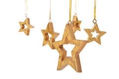 Decoração dourada do Natal das estrelas Fotos de Stock