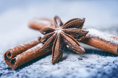 Decoração e biscoitos do Natal Mão da mulher que polvilha o açúcar no cookies Farinha e especiarias para um cozimento em um backg Imagens de Stock Royalty Free