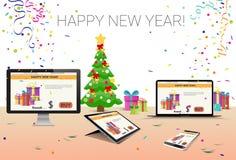 Decoração esperta decorada do ano novo feliz do telefone do portátil da tabuleta do computador do local de trabalho Imagens de Stock Royalty Free
