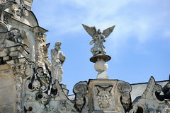 Decoração exterior da igreja do sinal em Dubrovitsy Imagens de Stock Royalty Free