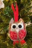 Decoração feita malha do Natal da coruja Imagem de Stock