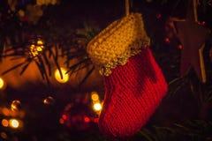Decoração feito a mão da meia do Natal fotografia de stock