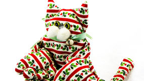 Decoração feito a mão do gato do Natal Imagem de Stock