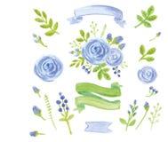 Decoração floral azul da aquarela ajustada com fitas ilustração royalty free