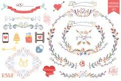 Decoração floral da garatuja do casamento do vintage, ícones ajustados ilustração stock