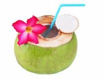 Decoração fresca da bebida do coco com as flores no fundo branco Imagem de Stock Royalty Free