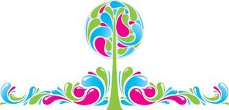 Decoração Funky com árvore Ilustração do Vetor