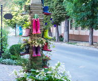 Decoração incomum das camas de flor da rua fotografia de stock
