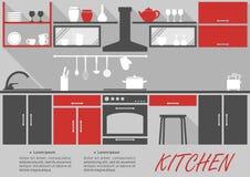 Decoração interior da cozinha infographic Foto de Stock Royalty Free