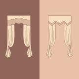 a decoração interior das cortinas e das cortinas projeta a ilustração isolada do vetor dos ícones das ideias coleção realística Foto de Stock Royalty Free