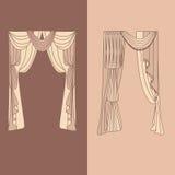 a decoração interior das cortinas e das cortinas projeta a ilustração isolada do vetor dos ícones das ideias coleção realística Foto de Stock