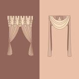 a decoração interior das cortinas e das cortinas projeta a ilustração isolada do vetor dos ícones das ideias coleção realística Fotografia de Stock