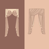 a decoração interior das cortinas e das cortinas projeta a ilustração isolada do vetor dos ícones das ideias coleção realística Fotografia de Stock Royalty Free