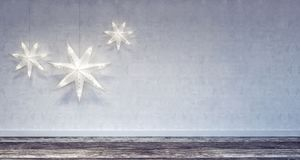 Decoração interior do Natal com quadro branco fotografia de stock royalty free