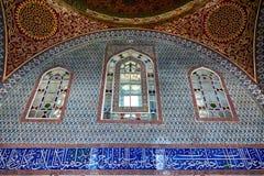 A decoração interior no palácio de Topkapi, Istambul, Turquia Foto de Stock Royalty Free