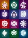 Decoração laçado do Natal do floco de neve do vetor Fotografia de Stock Royalty Free