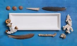 Decoração náutica ou marítima azul e branca com shell e a foto de stock royalty free