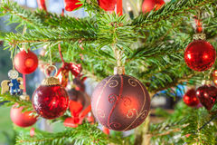 Decoração na árvore de Natal Foto de Stock