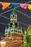 Decoração no quadrado vermelho, Moscou do Natal e do ano novo foto de stock