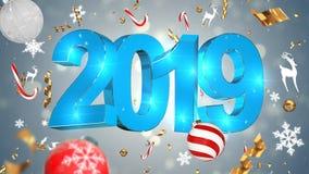 Decoração nostálgica do Natal, texto azul 2019, fundo cinzento com ouropel colorido, brinquedos do Natal imagens de stock royalty free