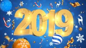 Decoração nostálgica do Natal, texto dourado 2019, fundo azul com ouropel colorido, brinquedos do Natal imagens de stock royalty free