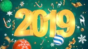 Decoração nostálgica do Natal, texto dourado 2019, fundo verde com ouropel colorido, brinquedos do Natal fotos de stock royalty free