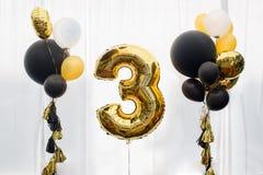 Decoração por 3 anos de aniversário Fotografia de Stock Royalty Free