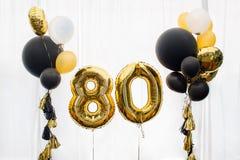 Decoração por 80 anos de aniversário, aniversário Foto de Stock Royalty Free