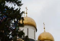 A decoração principal da árvore de Natal do todo-russo no quadrado da catedral do Kremlin Imagem de Stock Royalty Free