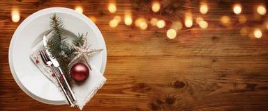 Decoração rústica da tabela do Natal fotografia de stock