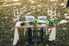 Decoração rústica do casamento nas madeiras fotografia de stock royalty free