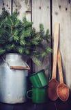Decoração rústica do inverno Imagem de Stock