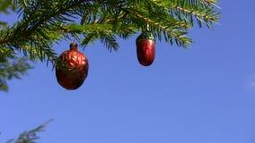 Decoração retro da árvore de Natal vídeos de arquivo