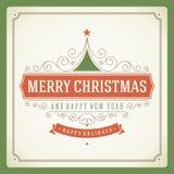 Decoração retro tipográfica do Natal e do ornamento Fotografia de Stock Royalty Free