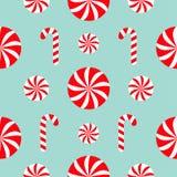 Decoração sem emenda do teste padrão Doces grupo branco e vermelho de Cane Round do Natal do doce Papel de envolvimento, molde de Fotos de Stock Royalty Free