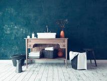 Decoração simples rústica do interior do banheiro Imagens de Stock Royalty Free