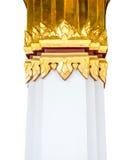 Decoração tailandesa do cargo com pintura tailandesa do teste padrão da arte com cor do ouro fotos de stock
