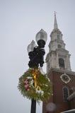 Decoração tradicional dos cristmass em Boston, EUA o 11 de dezembro de 2016 Imagem de Stock