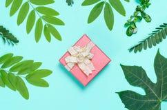 Decoração vermelha da caixa de presente com a folha verde para dar Fotos de Stock