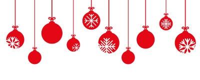 Decoração vermelha da quinquilharia do Natal com flocos de neve ilustração stock