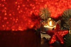 Decoração vermelha do Natal do brilho imagens de stock