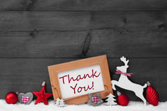 Decoração vermelha do Natal, obrigado, neve, Gray Background imagens de stock