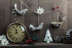Decorações caseiros do pássaro do Natal com pulso de disparo do vintage Imagens de Stock