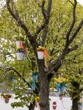 Decorações com os baldes de suspensão com os narcisos amarelos amarelos na parada tradicional Bloemencorso das flores de Noordwij Fotografia de Stock Royalty Free